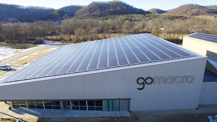gomacro hq solar panels on roof