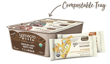 Tray of GoMacro Chocolate Protein Bars Variety Pack