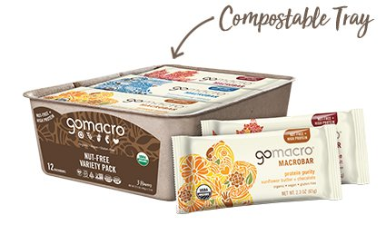Tray of GoMacro Nut-Free Protein Bars Variety Pack