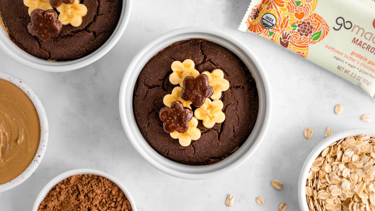 Sunflower Butter-Stuffed Chocolate Baked Oats